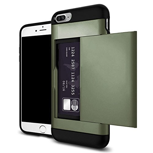 Shockproof Wallet Credit Card Pocket Holder Case Cover For iPhone X 8 7 6s Plus (Army Green, iPhone 8) ()