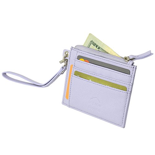 Alpine Swiss Womens RFID Mini Wristlet Wallet Leather Card Case Zipper Clutch Crosshatch Lilac