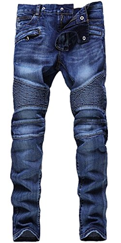 HerQueen Men Denim Jeans Vintage Ripped Biker Pants with Punk Features Blue Size 31