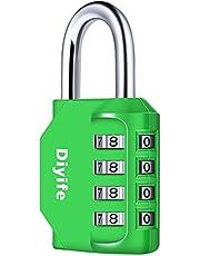 Diyife 4-cijferig Combinatieslot Cijferslot, Weerbestendig Metaal & Geplateerd Staal Hangslot voor School, Gym & Sports Locker, Hasp Cabinet & Storage - Groen