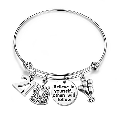 MAOFAED 21st birthday bracelet 13th Sweet 16 18th Inspiration Birthday Gift Believe in yourself Anniversary Jewelry (B-21st) ()