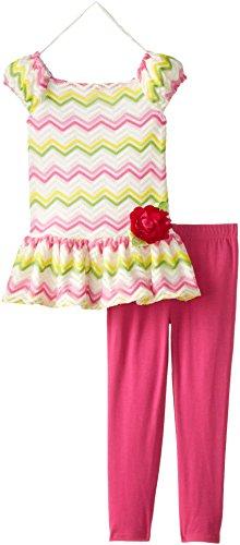 Sweet Heart Rose Little Girls' Crochet Chevron Legging Set, Pink/Multi, 6X