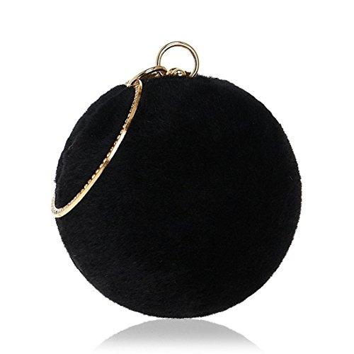 And Dress American Fashion Banquet Fur Fur evening Color Bag Evening Bag Handbags Ladies Fly bag Evening Win Red Black Spherical New European WOgnYI8