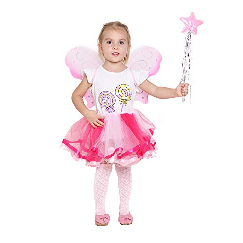 Fairy Wing Princess Tutu Costume Set For Girls Dress up and Ballet Dance - Pink ()