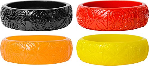 - Sourpuss Hawaiian Style Tiki Bracelets - Set of FOUR - Black, Red, Orange and Yellow Clothing