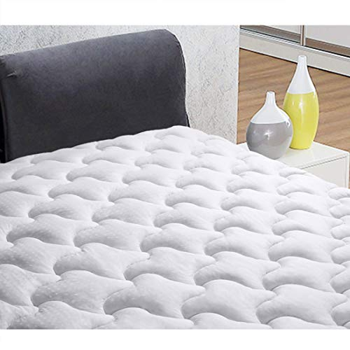 INGALIK Mattress Pad California King size Fitted Mattress Topper Cotton Top Pillow Top Quilted 8-21Inch Deep Pocket Down Alternative Cooling Mattress Pad Cover