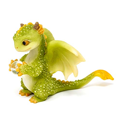 Top Collection Rex The Green Dragon Holding Crystal Orb, 2.5-Inch Cute Magic Dragon Statue, Mini Collectible Fantasy Figurine