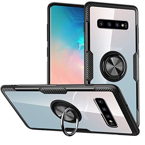 Galaxy S10 Case,SQMCase Crystal Clear Carbon Fiber Design Armor Protective Case with 360 Degree Rotation Finger Ring Grip Holder Kickstand [Work with Magnetic Car Mount] for Galaxy S10,Black Frame