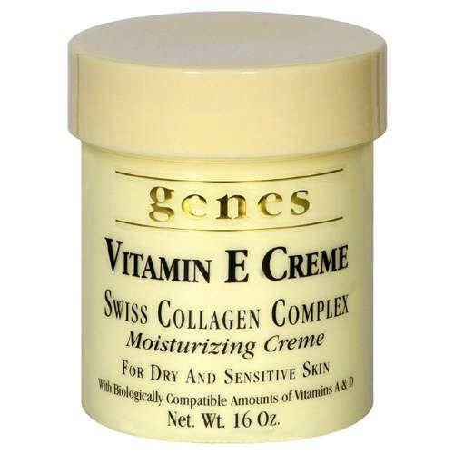 Les gènes Vitamine E Crème hydratante collagène suisse Complex Crème pour peau sèche et sensible 16 oz