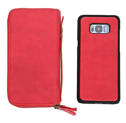MEAILE iPhone X/8Plus/7Plus Case Wallet for Women-Card Wallet Case,Otterbox Card Holder Shockproof PU 360°Protection for iPhone X/8Plus/7Plus Case (I-X, Red)