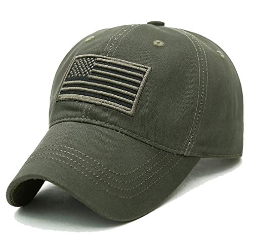 - LOKIDVE USA American Flag Baseball Cap Embroidered Polo Style Military Army Hat-Green