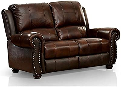BOWERY HILL Leather Loveseat in Dark Brown
