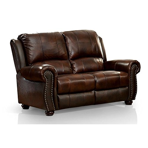 (BOWERY HILL Leather Loveseat in Dark Brown)