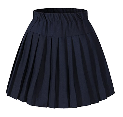 Girl`s Sailor Navy Skirt Elasticated Pleated Costumes School uniform (S,blue)