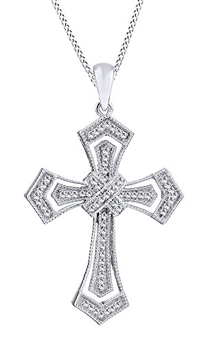 Jewel Zone US 0.2 CT Milgrain Cross Natural Diamond Pendant Necklace in 14k White Gold Over Sterling Silver