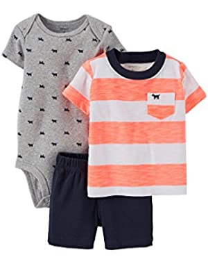Carters 3-pc. Bodysuit and Shorts Set Baby Boys - (3 mos, pink/white/navy)