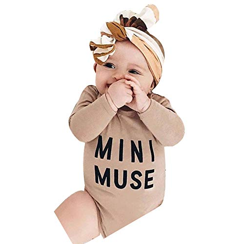 NUWFOR Newborn Infant Baby Boy Girl Letter Romper Bodysuit Headband Outfits Clothes Set(Beige,18-24 Months by NUWFOR (Image #7)