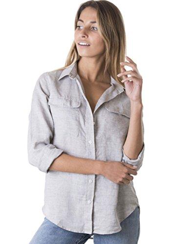 CAMIXA Womens 100% Linen Button Down Shirt Casual Basic Blouse Pockets Loose Top XS ()