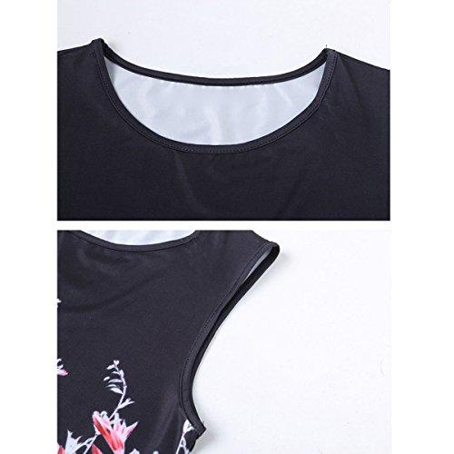 Cumpleaños Floral De Chica Mujeres Boda Pico Delgada Vestido Vintage Impreso negro Cóctel Ronda qHYTWW5zw
