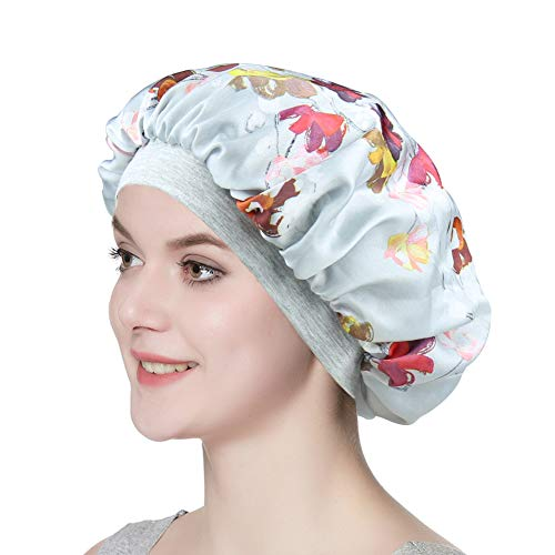 Satin Bonnet for Sleeping Double Layer Night Cap with Soft Elastic ()