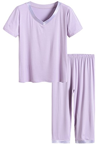 Latuza Women's Sleepwear Tops with Capri Pants Pajama Sets L Purple]()