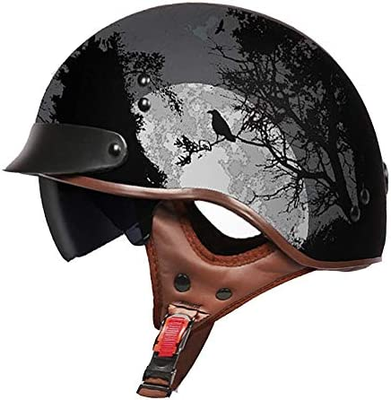 QIULAO Open Face Visor Retro Motorbike Helmet,Sunglasses Adult Cruiser Drop Down Locomotive Protective Electric Harley Motorcycle Vintage Crash Helmet Size : M