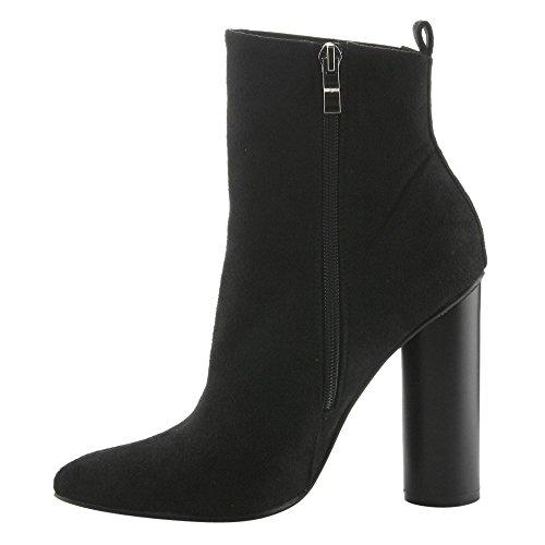 Cape Robbin Gd60 Womens Pointy Teen Chelsea Style Zijrits Blok Hiel Enkellaars Zwart