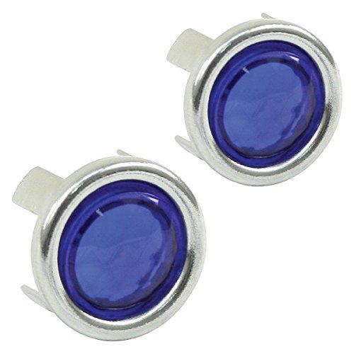 00-9491-0 Blue Dot w/Chrome Ring, Pair