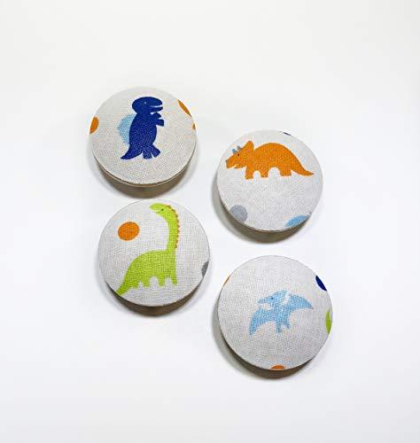 (Little Dinosaurs Fabric Covered Drawer Knob Pulls Set of 4 / Cabinet/Nursery / Wood/Handles / Room Decor/Furniture Accessories/Kid's Room)