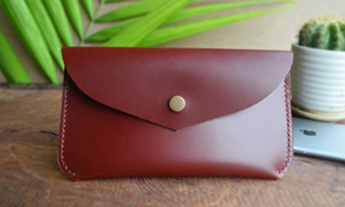 Tanned Leather Clutch (Handmade Maroon Oil Tanned Genuine Leather Clutch, Rectangular Button Pouch, Phone Pouch, Vintage Clutch Pouch)