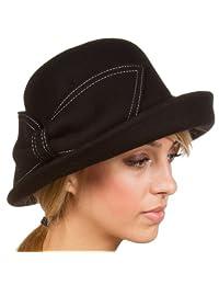 Sakkas Bobbi Vintage Style Wool Cloche Bell Derby Hat
