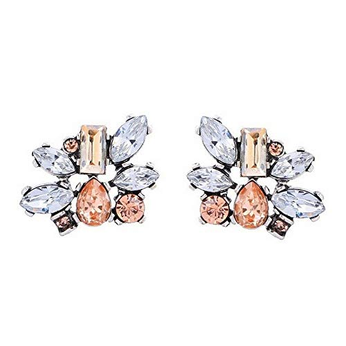 - Rhame Fashion Women Vintage Gold Silver Plated Crystal Dangle Drop Ear Stud Earrings | Model ERRNGS - 20148 |