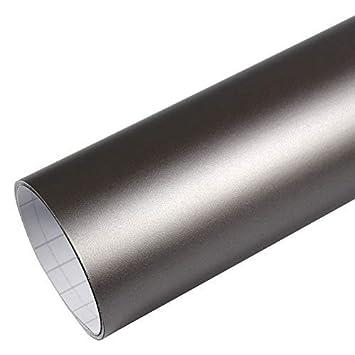 Tiptopcarbon Autofolie Matt Grau Metallic 152cm Breit Blasenfrei Mit