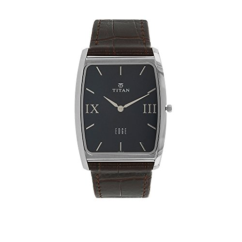 Titan Men's 'Edge' Quartz Stainless Steel and Leather Casual Watch, Color:Brown (Model: 1596SL02) (Watch Stainless Tonneau Steel)