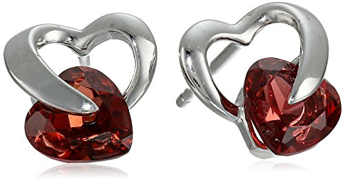 10k White Gold Garnet Heart Earrings (Gold White Earrings Garnet)