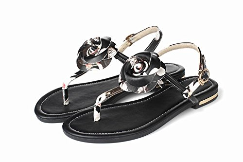 Charm Foot Womens T Strap Flower Thone Toe Flats Sandal Black KaUFD