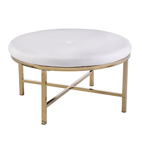 Furniture HotSpot White Faux Leather Ottoman Table - Large Round Cocktail Table - Glam Style (Brass) ()
