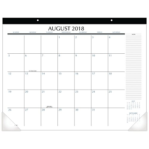 Upper Class Student Academic Monthly Desk Pad Calendar, August 2018 - July 2019, 21-3/4