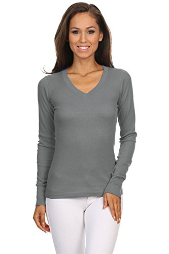 264e6b2345c23 hot sale TL Womens Variety Comfy Solid V-Neck Long Sleeve Thermal Basic Tops
