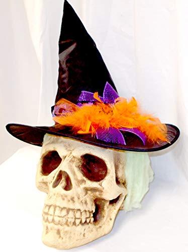 Bday Parties Halloween Styrofoam Skull Head Wearing Witch Hat and Green Hair 24' OOAK -