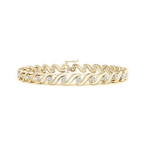 Lab Grown Diamond S Swirl Link Tennis Bracelet in 14K Yellow Gold