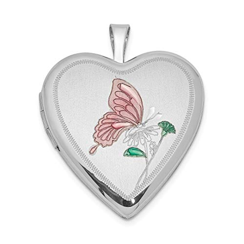 (925 Sterling Silver 20mm Enameled Butterfly Heart Photo Pendant Charm Locket Chain Necklace That Holds Pictures Fine Jewelry Gifts For Women For Her)