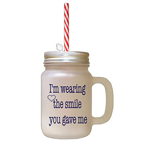 Style In Print Navy I Love You More Than My Phone Frosted Glass Mason Jar with Straw