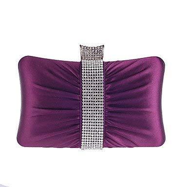 Ladies Handbag Women'sSweet Silken Diamonds Fold Evening Bag (color   Purple)