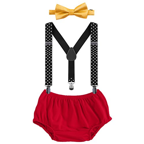 (Baby Boys First Birthday Adjustable Y Back Elastic Clip Suspenders Cake Smash Outfit Tuxedo Pre-tied Bloomers Bowtie)