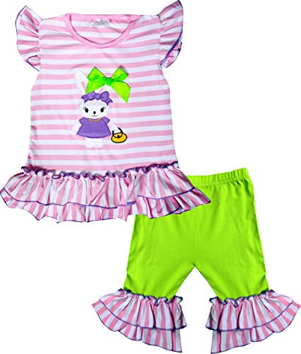 Pink Stripe Pant Capri - Boutique Baby Girls Happy Easter BunnyRuffles Tunic Top Capris Outfit Set Pink Stripes Lime 12-18M/2XS