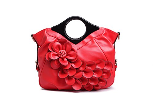Peacock Women PU Purses Flower Handbag Ruiatoo Red Evening Leather Retro Clutch wUpXqqZ