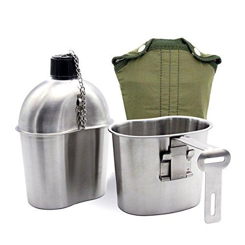 Latinaric 1L Edelstahl US Feldflasche Wasserflasche Armee Militär Kochgeschirr Überleben Trinkflasche