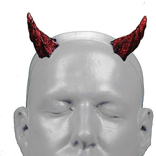 Gypsy Star V1 Red Glitter Devil Horns w/ adjustable, self locking invisible headband