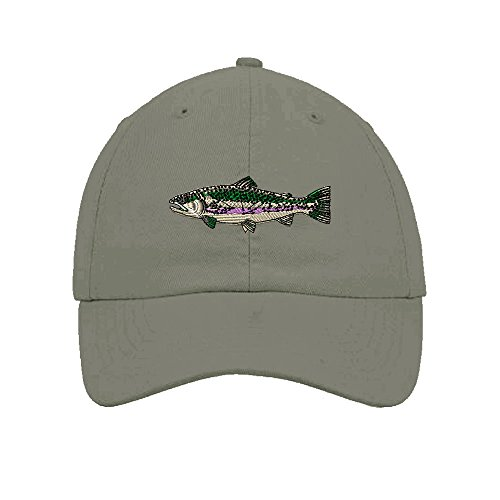 Grey 6 Panel Cotton Twill - Fish Rainbow Trout Embroidery Twill Cotton 6 Panel Low Profile Hat Light Grey